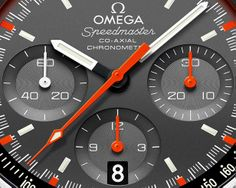 OMEGA Speedmaster Mark II (2014) »Racing Dial«  - fluorescent orange chronograph hands and a matching minute track