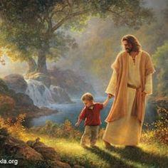 Jesus walking with Child