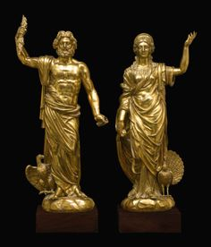 PROPERTY OF A GERMAN NOBLE FAMILY: Southern German, probably Augsburg, 17th century - Statues of Juno and Jupiter, gilt bronze.