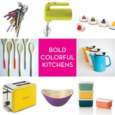 Bold Colorful Kitchens including our lilac bucket bowl Tidy Kitchen, New Kitchen, Kitchen Dining, Kitchen Ideas, Dining Room, Colorful Kitchens, Good House, Kitchen Colors, Kitchen Inspiration