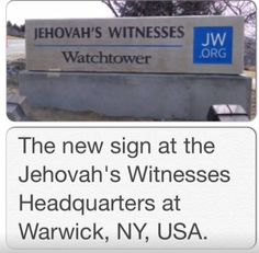 Warwick - World Headquarters for Jehovah's Witnesses. Still being built, this is the new sign
