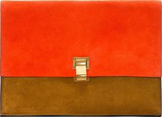 Proenza Schouler: SSENSE Exclusive Vermilion Suede Large Lunch Bag Clutch