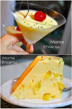 Gelado de Abacaxi, pedaços de abacaxi fresco, gelatina, creme de leite e suco de abacaxi com leite de coco