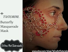 TUTORIAL Masquerade Mask,Wire wrapped copper jewelry guide,lesson,handmade craft,Wedding bridal,Carnival, Halloween,queen, PDF book pattern