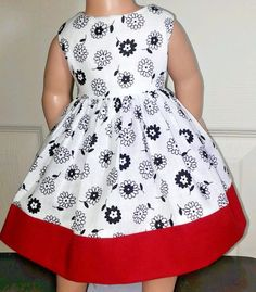 "Doll Clothes-Handmade-American Girl Dolls-Fits18""-Black Flowers & Red Dress. #Handmade"