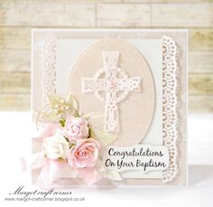 card cross communion confirmation, flowers flower lace borders -From our Design Team! Card by Małgorzata Dudzińska featuring these Dies - Cross Set 1 (Set of Small Lacy Border, Stitched Elements, Berry Flourish Design Team inspiration - kort konfirmation First Communion Cards, Holy Communion Invitations, Confirmation Cards, Baptism Cards, Wedding Cards Handmade, Beautiful Handmade Cards, Christian Cards, Bday Cards, Cricut Cards