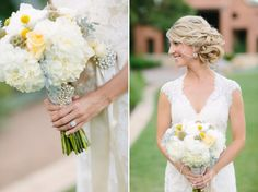 Soft and feminine dusty grey mint and yellow bridal bouquet Whim Florals Camp Lucy Ian's Chapel Wedding | Natasha + Chris | Dripping Springs Wedding Photography | Al Gawlik
