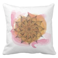 Watercolor Mandala Throw Pillow by My Shattered Sky on Zazzle