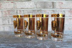 Vintage National Park Service historical drinking glasses