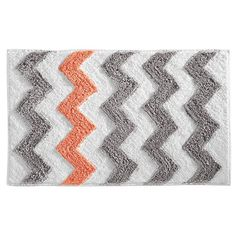 InterDesign Microfiber Chevron Rug, 34 by 21-Inch, Light Gray/Coral InterDesign http://www.amazon.com/dp/B00OFVYQ5U/ref=cm_sw_r_pi_dp_lMv2ub0YM1PEP