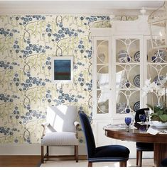Indigo Jasmine Brewster Wallpaper Wallpaper Brewster Wallcoverings Blues Grays Greens Neutrals Yellows Botanical Wallpaper Designer Wallpaper Tropical Wallpaper, Non Woven, Easy to clean , Easy to wash, Easy to strip Tropical Wallpaper, Botanical Wallpaper, Brewster Wallpaper, Wallpaper Warehouse, Sarah Richardson, Wallpaper Roll, Chic Wallpaper, Designer Wallpaper, Chinoiserie
