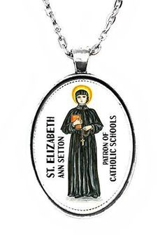 St Elizabeth Ann Setton Patron of Catholic Schools Huge 30x40mm Handmade Silver Plated Art Pendant