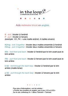 Aide-mémoire taille des aiguilles et lexique tricot anglais-francais