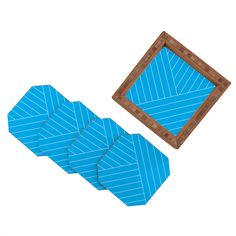 Three Of The Possessed Wave Blue Coaster Set | DENY Designs Home Accessories