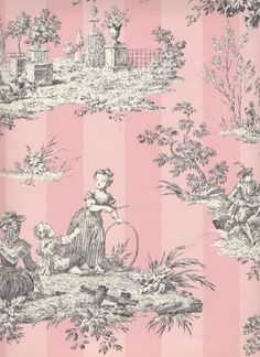 found on discount-wallpaper.com pink toile by TriSaraTops!