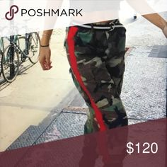 LF Furst Of A Kind Vintage Camo Pants BNWT These are listed by Furst as one size but LF have sized them all like jeans. Just posting this info to avoid confusion!!  LF Furst Of a Kind vintage original Camo pants repurposed with red side stripes. LF Pants