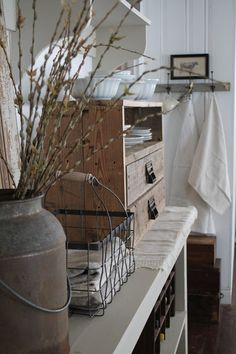 Wire basket, old wood and French Linens