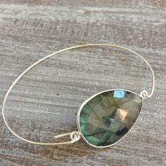 Silver bracelet Labradorite by GemelryShop on Etsy