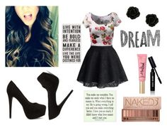 """dream"" by nat-nat123 ❤ liked on Polyvore featuring Nly Shoes, Chicwish, Urban Decay and Bobbi Brown Cosmetics"