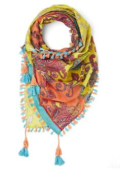 Crazy About Color Scarf in Yellow - Cotton, Woven, Yellow, Multi, Paisley, Fringed, Tassles, Casual, Boho, Festival, Spring, Summer, Yellow