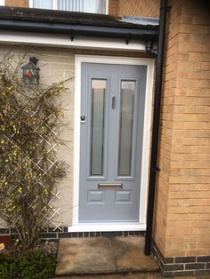 French grey Edinburgh Solidor Composite Doors Composite Door, satin glass with c. Grey Composite Front Door, Grey Front Doors, Front Door Porch, Beautiful Front Doors, Double Front Doors, House Front Door, Glass Front Door, Back Doors, Solidor Door