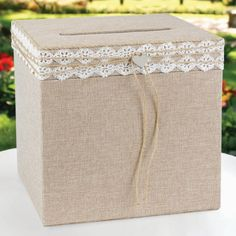 Rustic Romance Burlap Wedding Card Box - Wishing Well Wedding Gift Card Box, Money Box Wedding, Gift Card Boxes, Wedding Boxes, Wedding Cards, Wedding Invitations, Gift Cards, Wedding Favors, Rustic Romance Wedding