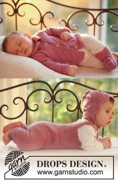 "BabyDROPS 18-14 - DROPS jacket, jumpsuit, bonnet and socks in ""Alpaca"". - Free pattern by DROPS Design"