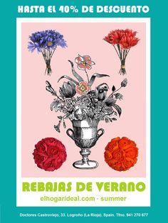 Decoracion online, el hogar ideal, rebajas 27, flores de tela malva roja y naranja. elhogarideal.com