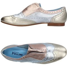 Studio Pollini Loafer ($184) ❤ liked on Polyvore featuring shoes, loafers, silver, leather shoes, pattern leather shoes, round toe loafers, round toe shoes and loafer shoes