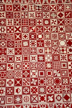 "Dear Jane by Carol, Alpine Quilt Group. ""Can you guess what's different about this Dear Jane? If you look closely you will see that each block is machine embroidered. She used white thread on red fabric and red thread on white fabric and alternated the blocks."" Posted at bittybitsandpieces"