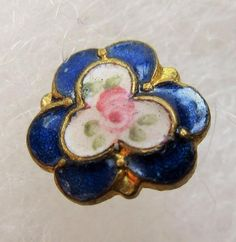 Dainty Little Antique Diminutive French Champleve ENAMEL BUTTON Cobalt w/ Rose
