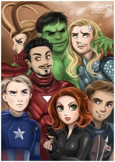a most excellent Avengers piece by daekazu on deviantArt. Especially love Iron Man's arm on Cap's head :D