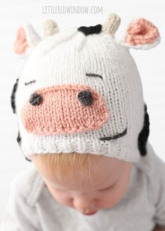 Free Knitting Pattern for Cuddly Cow Hat - Adorable baby hat is transformed with a few extra pieces to a cute animal. Designed by Cassie at Little Red Window.