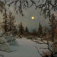 Winter moon after a snow. Winter Szenen, Winter Moon, I Love Winter, Winter Magic, Winter Time, I Love Snow, Beautiful Moon, Snow Scenes, All Nature