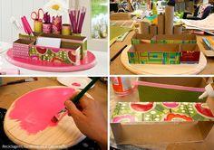 Készíthetünk dobozból, gurigából szuper ceruzatartót az íróasztalra.