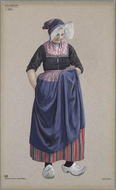 Volendam, ca. 1880. Vrouw met 'Boomhul' Jan Duyvetter #NoordHolland #Volendam