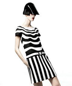 black and white mod retro futuristic striped striped patterns prints graphic model editorial fashion red lipstick 60s