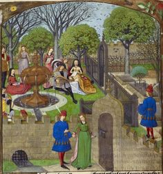 Harley_ms_4425_f012v_detail Detail of a miniature of the Garden of Pleasure, from the Roman de la Rose, Netherlands (Bruges), c. 1490 – c. 1500,   Harley MS 4425, f. 12v - See more at: http://britishlibrary.typepad.co.uk/digitisedmanuscripts/2014/01/the-height-of-fashion.html#sthash.7aN6UsSS.dpuf