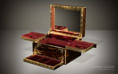 Antique Jewellery Box in Coromandel with Betjemann Patent 'Automatic' Mechanism by Howell, James & Co. - DanielLucian.com