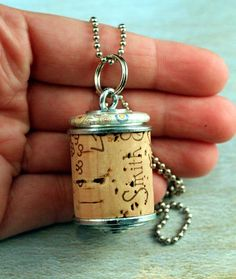 Wine Cork Necklace - Upcycled Jewelry by Uncorked - Creamy Bubbles. $14.00, via Etsy.