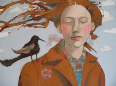 I like the closed eyes, windswept hair, bird on shoulder, & subdued colors / art / portrait / Catriona Millar