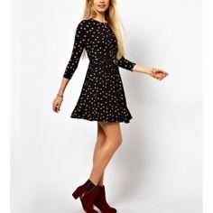 Black Bird Pattern Three Quarter Sleeve Dress