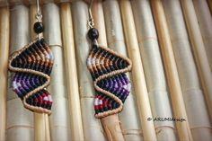 Fiber dangle earrings BEIGE & BROWN RAINBOW with natural seeds