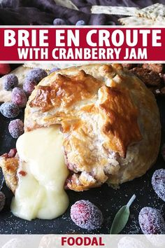 A beautiful brie en croute with cranberry jam is a fun recipe with everyone's favorite ingredient: ooey-gooey, melted cheese. Gather your guests around the table to enjoy scoops of warm brie, tart jam, and buttery pieces of crust. Read more. Jam Recipes, Sweet Recipes, French Recipes, Burger Recipes, Family Recipes, Brie En Croute, Cranberry Jam, Sour Fruit, Chicken Snacks