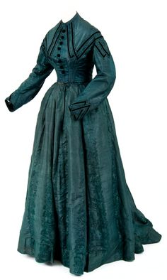 """Green brocade and watered silk dress with black velvet stripes, buttons, and floral design; Worn by the wife of General Robert N. MacLaren, commander at Fort Snelling from Love the deep, gorgeous teal hue of this dress. 1800s Fashion, 19th Century Fashion, Edwardian Fashion, Vintage Fashion, Old Dresses, Vintage Dresses, Nice Dresses, Vintage Outfits, Vintage Clothing"