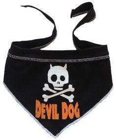 """Devil Dog """"Skull"""" Bandana Scarf in color Black/White/Orange"""