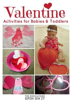 Valentine's Day Activities for Babies and Toddlers. Includes easy idea for a craft and game for little ones to enjoy on their very first Valentines day with the family. Kinder Valentines, Valentines Day Activities, Holiday Activities, Valentine Day Crafts, Craft Activities, Holiday Crafts, Holiday Fun, Valentines Ideas For Babies, Valentine Ideas