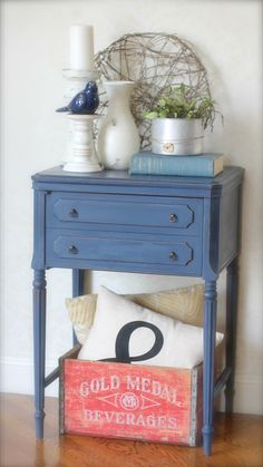 Vintage sewing table makeover, Annie Sloan chalk painted, Napoleonic blue and Graphite.  https://www.facebook.com/perfectlyimperfecthome/