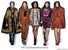 Designer A/W'12 trend ornamental opulent prints