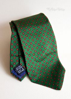 Vintage 1970s John Comfort Green Paisley Design Silk Tie by UpStagedVintage on Etsy